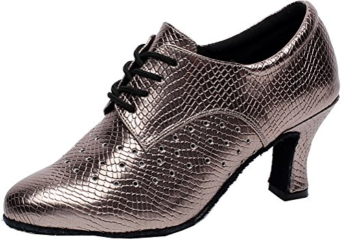 Closed Grey Dance PU Cha Kitten Lace Heel up Cha shoes Professional Abby Latin Tango Womens toe SqCOwxT0Zn