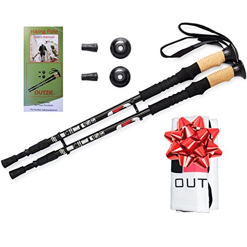 Anti-Shock-Hiking-Poles-2-Lifetime-Replacement-Warranty-Compact-Retractable-Ultra-Strong-Lightweight-Aircraft-Aluminum-Max-Comfort-Cork-Grip-Walking-Sticks-plus-Bonus-Tips-and-Carrying-Bag