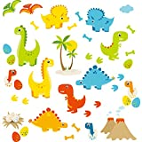 HomeEvolution Large Cartoon Dino Friends Peel and Stick Dinosaur Wall Decals Stickers for Kids Babies Playroom Decor