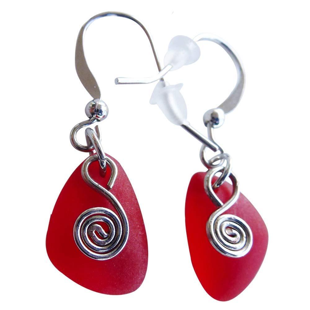 Red sea glass earrings small 0.5 inch ocean coast hawaiian foam beach prime handmade nautical fashion mermaid tears jewelry for women and girls Valentine gift under $20