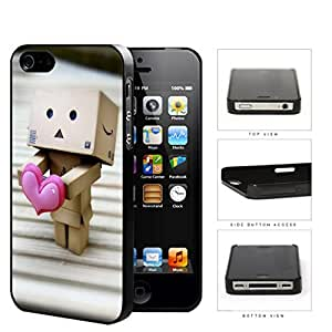 Robot Made Of Cardboard Boxes With Pink Heart Hard Plastic Snap On Cell Phone Case Apple iPhone 4 4s