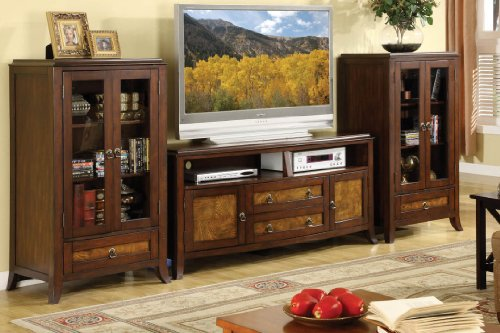 (Kassandra Glass Door Brown Cherry and Oak Finish Entertainment Wall Pier)