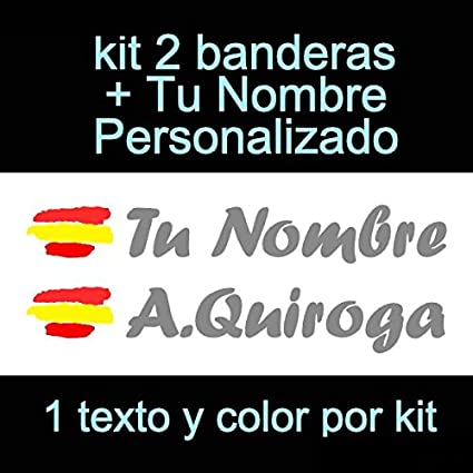 Vinilin Pegatina Vinilo Bandera España + tu Nombre - Bici, Casco, Pala De Padel, Monopatin, Coche, etc. Kit de Dos Vinilos