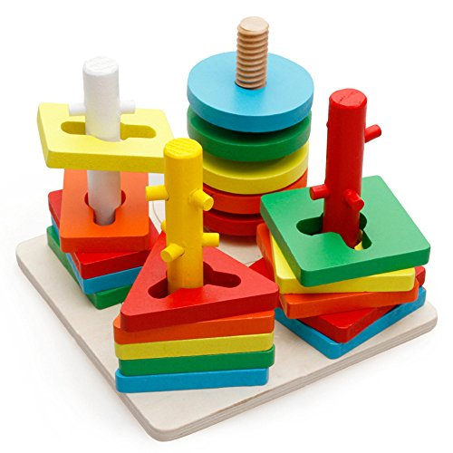 KateDy 1 pc Block Wise Disk Four Column Set Building Blocks Games Montessori Geometry Match Intelligence Game Building Blocks Wooden Educational Toy