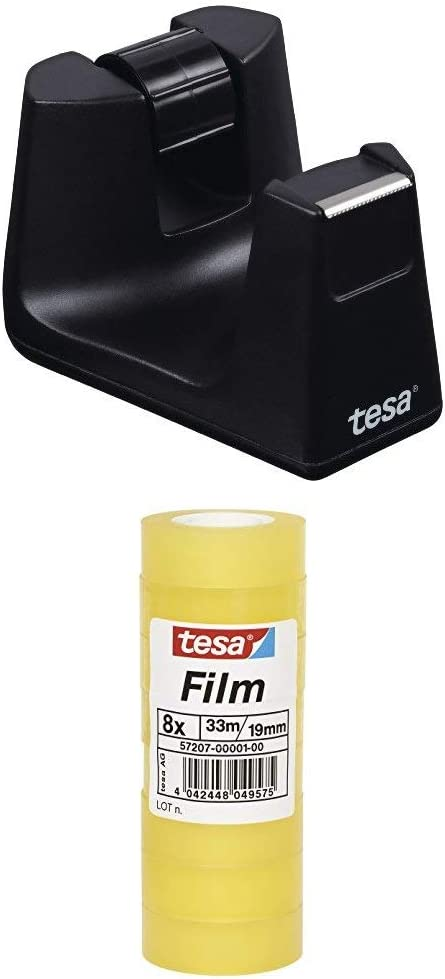 8 Rollen 2x tesafilm Klebeband Standard 33m x 19mm tesa Tischabroller Smart in schwarz mit Anti-Rutsch Boden