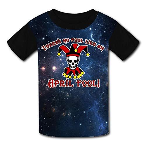MoKviq Kids Print T-Shirt,Funny Skull Clown No Fool Like an April Fool Hipster Youth Casual Short Sleeve Tees XL Black