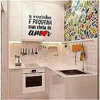 """Adesivo Decorativo Parede""""A cozinha é pequena mais cheia de amor"""""""