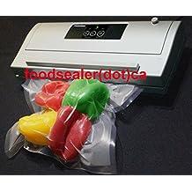 "50 Pint Bags 6"" x 10"" + Ultra Quiet Manual Silver FoodSealer Vacuum Sealer - Best Quality Vacuum Sealer to Vacuum Pack your Food for Storage"