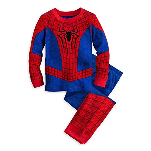 Disney Store Deluxe Spiderman Spider Man PJ Pajamas Boys Toddlers (XS 4 Extra Small 4T), Red]()