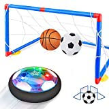 Betheaces Kids Toys Rechargeable Hover Soccer Set, Indoor Air Soccer with LED Light and Foam Bumper Included 2 Goals and Inflatable Ball, Birthday Toys for Boys Girls(No Battery Needed)