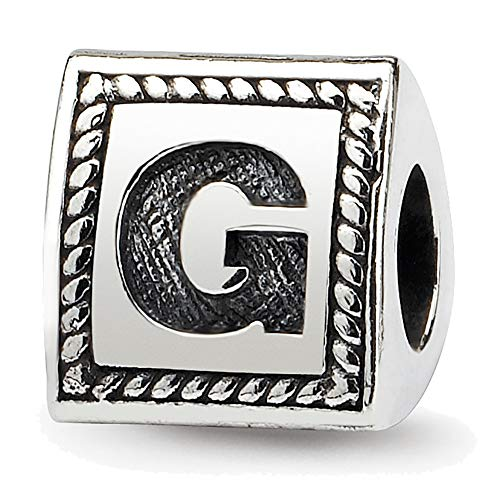 (Lex & Lu Sterling Silver Reflections Letter G Triangle Block Bead)