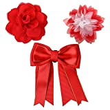 Bow & Arrow Pet Dog Collar Accessories, Two Dog Collar Flowers and One Bow, Slide On Attachment, Red and White