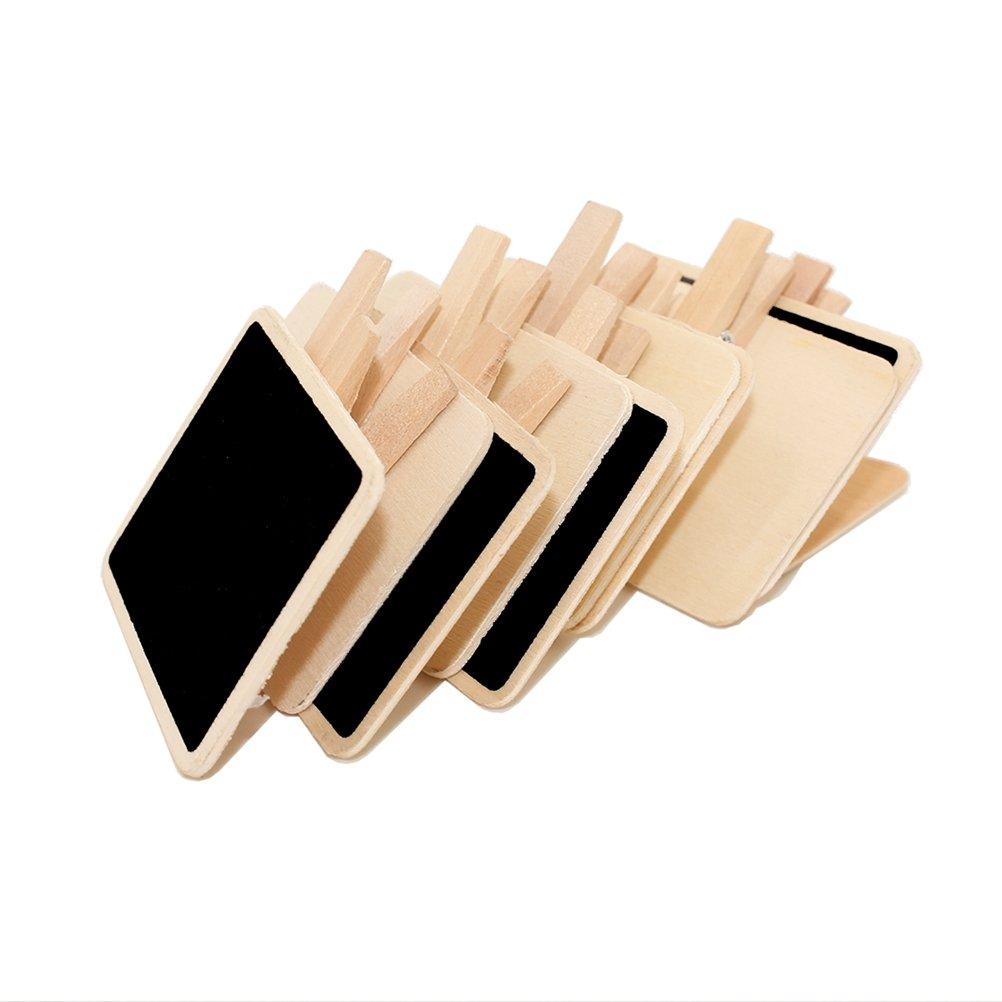 SUPVOX 10 Piezas Mini Pizarra con Clip de Madera para letreros y Etiquetas