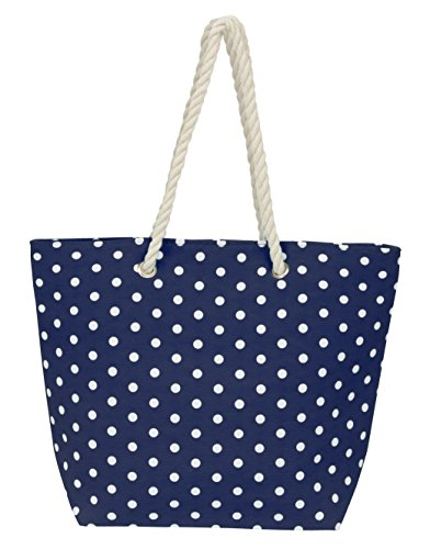 Leisureland Large Rope Handle Water Resistant Canvas Beach Tote Bag (18''x14''x6'', Polka Dots Navy Blue) by Leisureland