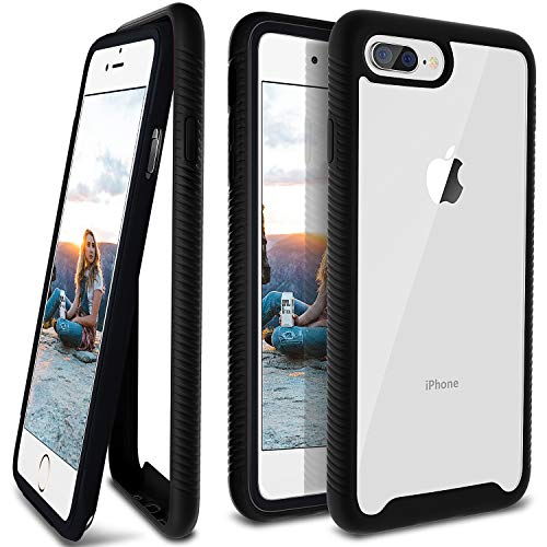 iPhone 8 Plus Case, Ansiwee Reinforced Frame Crystal Hard Back Durable Shock-Absorption Soft TPU Bumper 360 Protective Case Cover for Apple iPhone 6 Plus/ 6s Plus/ 7 Plus/ 8 Plus 5.5 inch (Black)