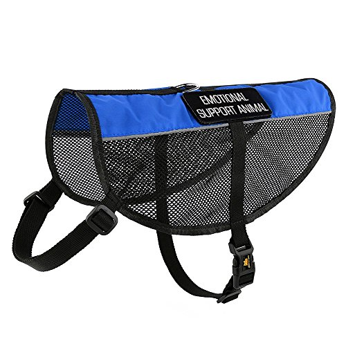 Plutus Pet Emotional Support Dog Vest Reflective Straps, Lightweight Cool Blue Mesh Harness 2 Free Removable Embroidery Emotional Support Animal Patches,XXS,Girth 11-14