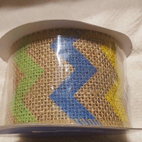 Blue Yellow Fabric (Chevron Burlap Wired Ribbon - Green Blue Yellow Stripe 5yds)