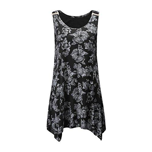 Pleats Vintage Little Black Dress - BRITTANY TINCHER Women Vintage Floral Print Sleeveless Crewneck Pleat Swing Tank Dress Tops Vest Shirt,X-Large,Black