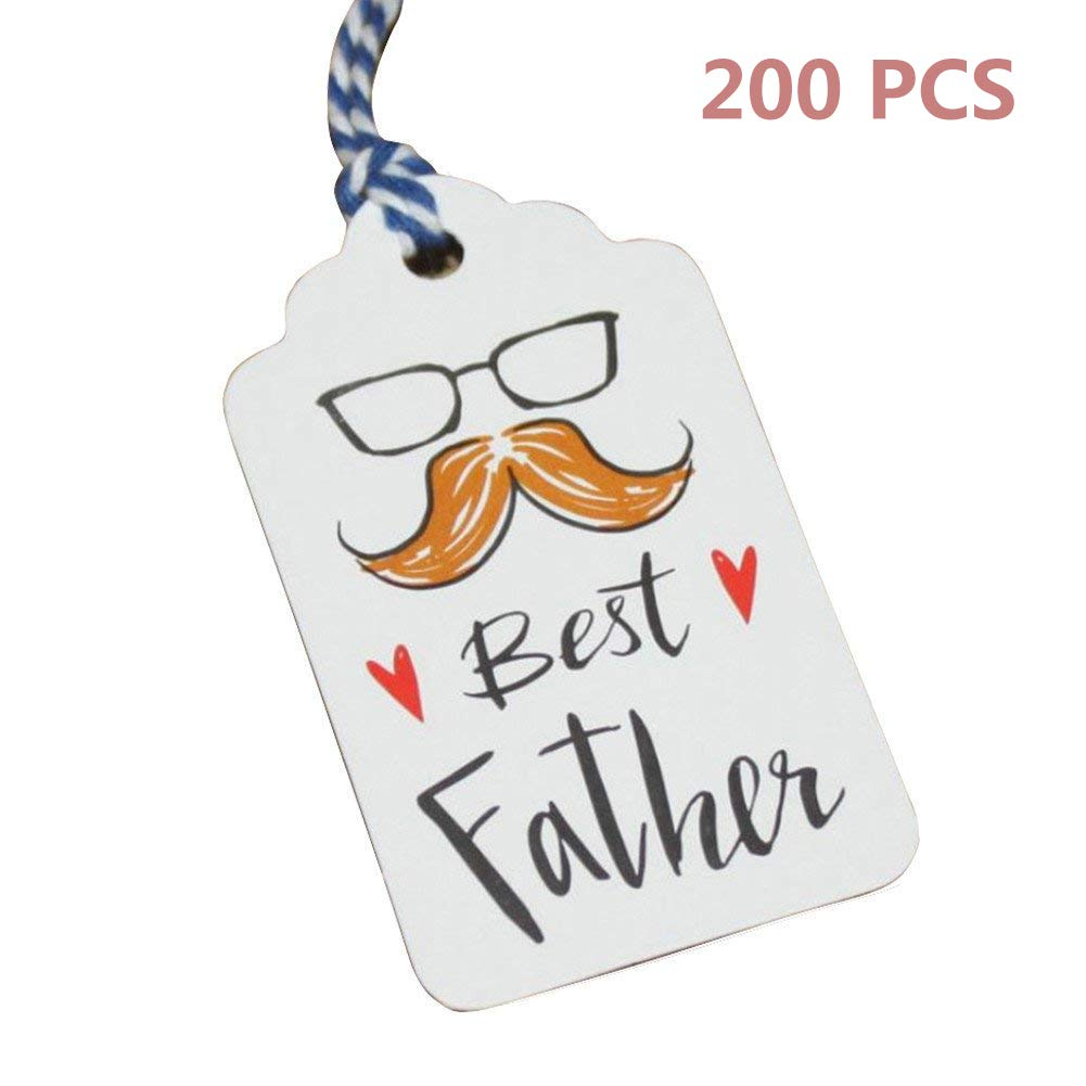 Obling Kraft Gift Tags with Best Father Words DIY Paper Gift Tags with String, 200 pcs Cards with 131.2 inches Cotton Thread (200)