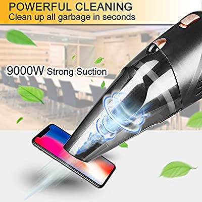 Aspiradora de Mano Sin Cable,9000PA/120W Aspirador Potente Sin ...