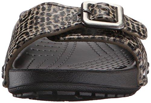 Crocs Sarah Leopard - Sandalias flip-flop Mujer Nero (Black)