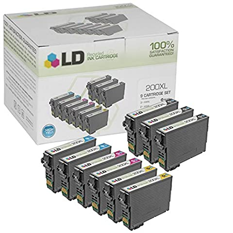LD Products Remanufactured Ink Cartridge Replacement for Epson T200XL ( Black,Cyan,Magenta,Yellow , 9-Pack (Black Ink Epson 200xl)