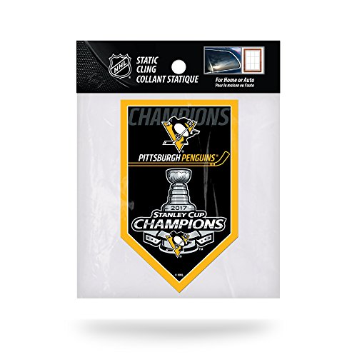 """NHL Pittsburgh Penguins 2017 Stanley Cup Champions Die Cut Static Cling, Black, 3"""" x 5"""""""