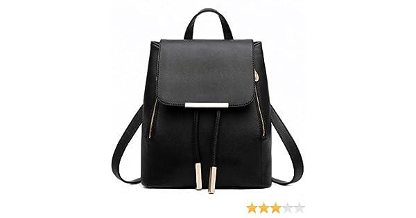 Amazon.com: Backpacks,Han Shi Women Girls Leather Schoolbags Travel Casual Shoulder Bag Mochila (Black, M): Home & Kitchen