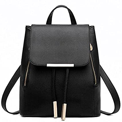 Backpacks,Han Shi Women Girls Leather Schoolbags Travel Casual Shoulder Bag Mochila (Black,