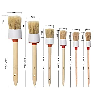 COCODE Natural Boar Hair Detail Brush (Set of 6), Auto Detailing Brush Set Car Detailing Brushes Perfect for Cleaning Wheels, Dashboard, Interior, Exterior, Leather, Air Vents, Emblems