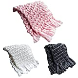 Hoomall Knitted Throw Blanket with Fringe Bulky Knit Cozy Bed Throw Chunky Soft Warm Cover Blanket Throw Rug for Sofa Bed Lounge Decorator Couch (Pink, 23.6X23.6 inches)