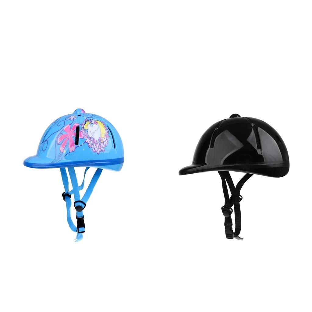 Baoblaze 2X Casque Équitation pour Enfant Coque Extérieure en PVC Équipement de Protection Cavalier Bleu/Noir