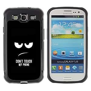 Kobe Diy Case Rugged hybrid Protection Impact Case Cover FOR S3 Case ,I9300 Case Cover ,I9308 case ,Leather for S3 ,S3 Leather Cover Case / Funny - DON'T TOUCH MY PHONE /