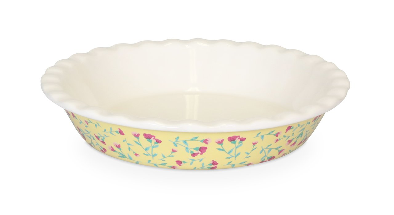 Fanci Baking by Captivate Brands FNRBRNDPL Large Round Ceramic Fluted Baking, Pie Plate, Yellow