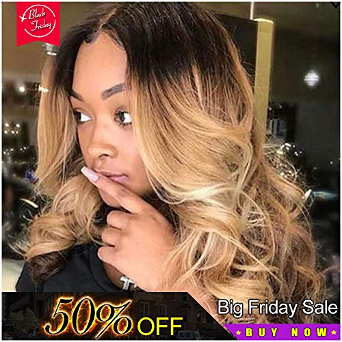 Ombre Wig Blonde Synthetic Lace Front Wigs Long Body Wave Hair Wigs For Women Heat Resistant Wig (22 Inch, 613)