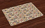 Lunarable Movie Theater Place Mats Set of 4, Retro Style Cameras Tickets Popcorn and Clapperboard Colorful Cinema Icons, Washable Fabric Placemats for Dining Room Kitchen Table Decor, Multicolor