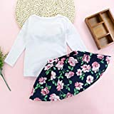 Girls Love Letter Print Vest Floral Skirt Sets Kids Toddler Sleeveless Clothes Outfits (Navy, 100)