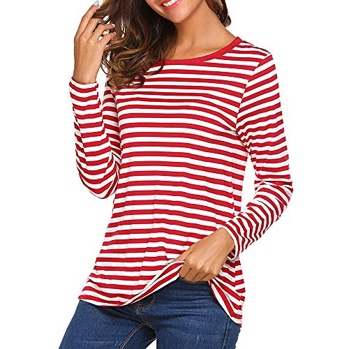 chuxin huang Women Long Sleeve Round Neck T-Shirt Striped Shirts Tunic Top Blouse Red ()