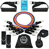 Tribe Resistance Bands Set | Exercise Bands - with Stackable Workout Bands, Door Anchor, Handles, Ankle Straps, Carry Bag & eBook (Hardcore Pro Series - 12 pcs (150 lbs))