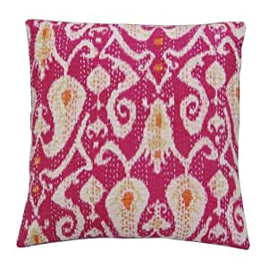 "Paisley Design Traditional Cushion Cover Home décor Pink Kantha Stitch Decorative Pillow Case Handmade Throw India 18"" Inches"