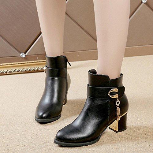 Zarupeng Frauen Quadratischen Absatz Leder Stiefeletten High Heels Plateauschuhe Seitlichem Reißverschluss Schwarz