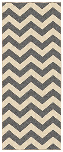 Custom Size Grey Chevron Zig Zag Rubber Backed Non-Slip Hallway Stair Runner Rug Carpet 31 inch Wide Choose Your Length 31in X 14ft