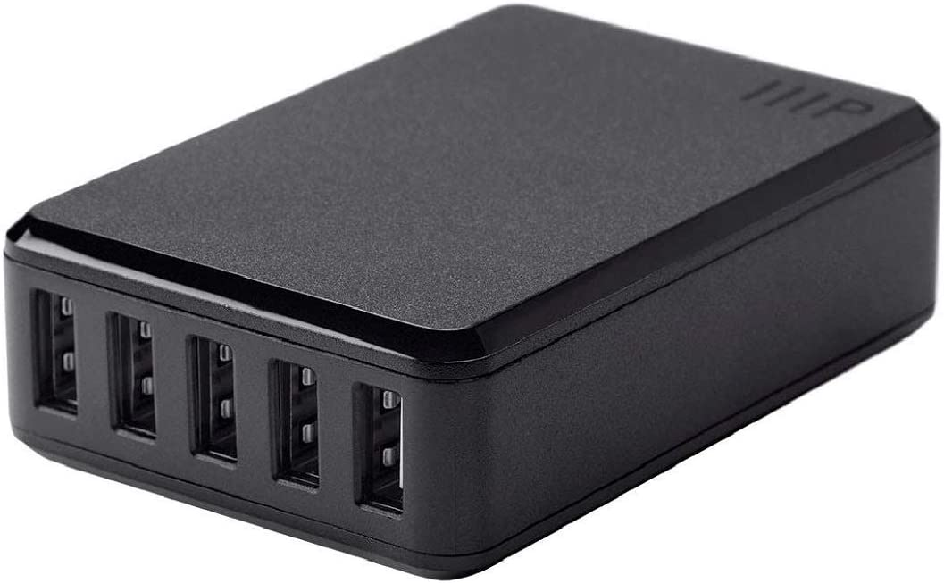 Monoprice 5-Port USB Desktop Charger, 8A Output For iPhone, Android, And Galaxy Devices - Obsidian Plus Series