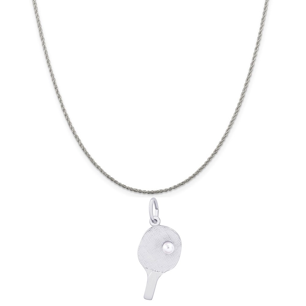 18 or 20 inch Rope Rembrandt Charms Sterling Silver Ping Pong Paddle Charm on a 16 Box or Curb Chain Necklace