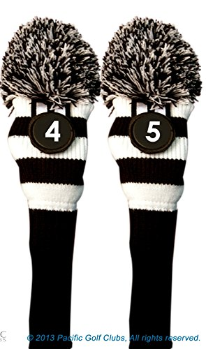 Majek #4 & 5 Hybrid Combo Pack Rescue Utility Black and White Golf Headcover Knit Pom Pom Retro Classic Vintage Head Cover