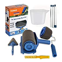 TOURACE 9Pcs/Set Paint Roller Set with Sticks Paint Roller Pro Transform Your Room in Just Minutes Quickly Decorate Runner Tool Painting Brush Set.