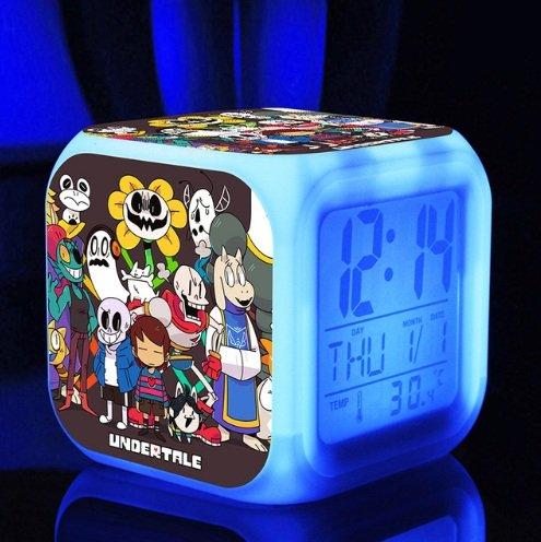 Style 1 Cute Cartoon Undertale Sans and Papyrus Cartoon Game Digital Alarm Desktop Clock with 7 Changing LED Clock