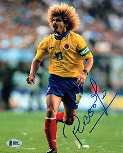 CARLOS VALDERRAMA SIGNED 8x10 PHOTO COLOMBIA WORLD CUP SOCCER LEGEND BECKETT - 8x10 World Cup Photo Soccer