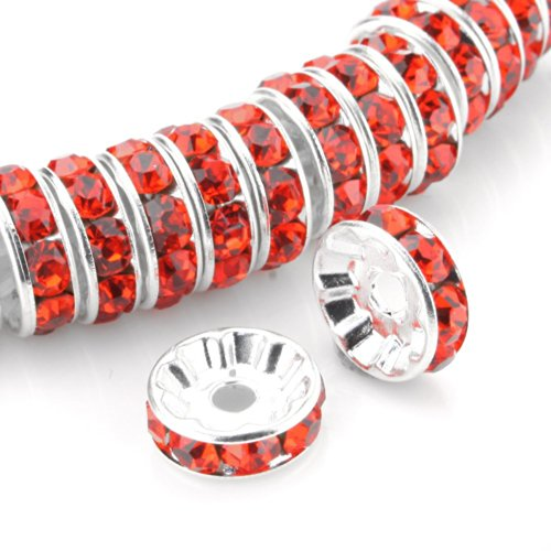 RUBYCA Top Quality 100pcs 8mm Round Rondelle Spacer Beads Silver Tone Sun Orange Czech Crystal (Bead Sun Spacer)