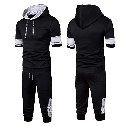 5bb21feab88 2019 Men's Jogging Tracksuit Patchwork Sportswear Casual Joggers Set Hoodie  Sweatshirt+Jogger Sweatpants by-